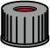 SK N10-L, sw, PTFEr/Sil w/PTFEr, 45° 1,0 N 10 PP Schraubkappe, schwarz, Loch PTFE rot/Silikon...