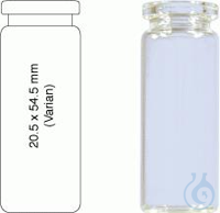 Vial N20-10, CR, c, 20.5x54.5, fl., DIN 10 mL Headspace Crimp Neck Vial N 20 outer diameter: 20.5...
