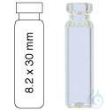 Vial N8-0.8, RR, k, 8,2x30, flach 0,8 mL Rollrandflasche N 8 Außendurchmesser: 8,2 mm, Außenhöhe:...