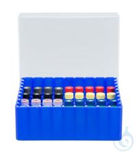 Beh. f. Probengl. N8/N9/N10/N11, 81 Pos. 81 Positionen Behälter blau mit festem Gefacheinsatz für...