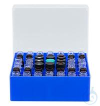 Beh. f. Probengl. N13, 49 Pos. 49 Positionen Behälter blau mit festem Gefacheinsatz für...