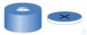 SR N11-H, bl, Sil w/PTFE bl (+), 55° 1.0 N 11 PE snap ring cap, blue, center hole Silicone...