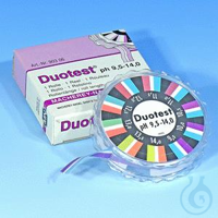DUOTEST pH 9,5-14,0, roul. 5mx10mm DUOTEST pH 9,5 - 14,0 rouleau de 5 m longueur, largeur 10 mm...