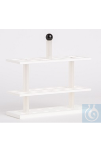 Rack PP white for butyrometers, 12 bores, 26mm diameter, suitable for water...