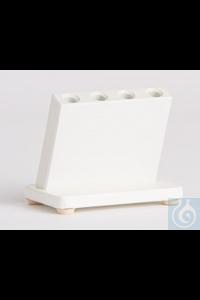 Gestell für 4 Ösenhalter nach Kolle  schräggestellter PVC-Block, hellgrau, mit Bohrungen 7,7mm...