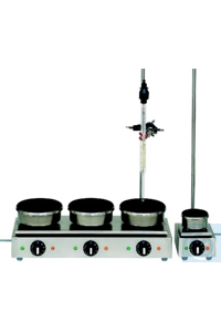 Series hotplates 150 mmØ, each heating position can be individually and variably regulated, 4...