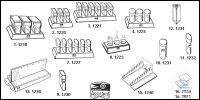 Staining stands of Plexiglas®, with 3 Hellendahl jars old order number: 1218...