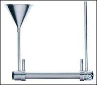 Flow through sample tubes (stainless steel) with funnel and riser and...