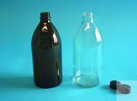 EHV-Flasche Braunglas, Gewinde DIN 28, 1000 ml mit Rundgewinde nach DIN, ohne...