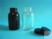 WHV-Flasche Braunglas, Gewinde DIN 55, 500 ml Weithalsglas mit Rundgewinde nach DIN,  ohne...