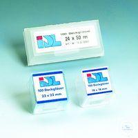 Deckgläser 24 x 24 mm Deckgläser aus reinweißem Glas der hydrolytischen Klasse 1,  sauber...