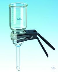 IDL filtration unit: funnel, base, clamp and metal sieve, without bottle. IDL glass filter units,...