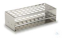 Reagenzglasgestell 18/10 Stahl, 2 x 10 Bohrungen 18 mm Ø Reagenzglasgestell aus rostfreiem...