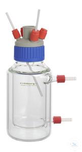 Reaktionsgefäß, 2000 ml, GLS 80, mit Temperiermantel, Anschlüsse GL 18, zylindrisch, Boden flach...