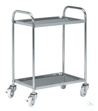 Stainless steel trolley with four castors diam. 125 mm and 2 shelves Stainless steel trolley with...
