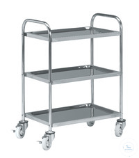 Stainless steel trolley with four castors diam. 125 mm and 3 shelves Stainless steel trolley with...