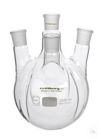 4-Halskolben, 2000 ml, mit 4 Schikanen, MH NS 45, SH 3x NS 29, schräg 4-Halskolben, 2000 ml, mit...