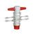 Durchgangshahn PTFE, NS 18,8/4 mm, Anschlüsse Gewinde GL 14 Durchgangshahn PTFE, NS 18,8/4 mm,...