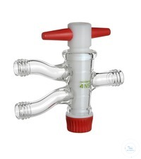 Zweiwegehahn (Patenthahn) PTFE, NS 18,8/4 mm, Anschlüsse GL14 Zweiwegehahn (Patenthahn) PTFE, NS...
