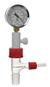 Belüftungsventil/Exsikkatoren Version 2 mit Vakuummanometer PVC-Zwischenstück, NS 24/29...