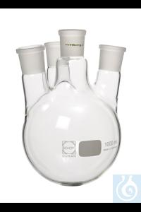 4-Halskolben, 10000 ml, MH NS 45/40, 3x SH NS 29/32 schräg 4-Halskolben, 10000 ml, Mittelhals NS...