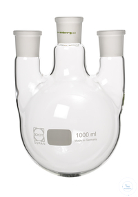 3-neck bottom flask, 500 ml, mn NS 29/32 2x sn NS 14,5/23 (straight) Three necks round bottom...