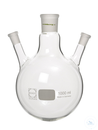 3-Halskolben, 500 ml, MH NS 29/32, 2x SH NS 14,5/23 (schräg 20°) 3-Halskolben, 500 ml, Mittelhals...