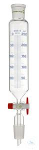 Tropftrichter, 50 ml, Hülse NS 29/32, Kern NS 29/32, PTFE-Hahn 2,5 mm,  graduiert, mit...