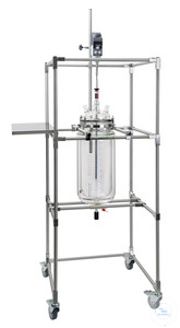 Mobile rack for reaction vessels 6 - 20 liter, with flange holder NW 200, side tablar, stainless...