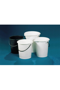 Bucket, LDPE, with spout, white, 10 l, with handle