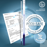 ASTM Thermometer -ACCU-SAFE- +23,9+30,1°C in 0,01°C, blau, Werks-Kal.