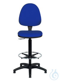 neoLab® Laboratory chair, blue PVC cover, sliding feet + foot ring, height adjustable approx....