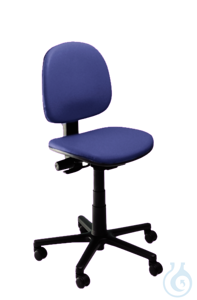 neoLab® Laboratory chair, blue PVC cover, castors, height adjustable approx. 47-64 cm