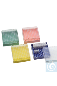 neoLab® Kryo-Aufbewahrungsboxen aus PS, 100 Stellplätze, gelb Kryobox mit 100 Plätzen für...