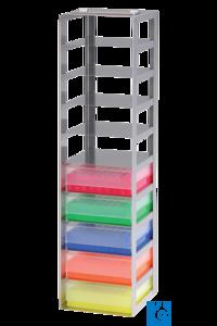 neoLab® Truhengestell f. 100er Box, 6 Fächer, 141 x 141 x 636 mm Für alle Kryo-Boxen mit den...