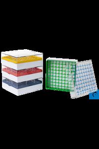 Kryoboxen (PC), 81 Plätze, 53 mm hoch, gelb, 4 St./Pack Kryo-Box für 9 x 9 Kryoröhrchen mit...