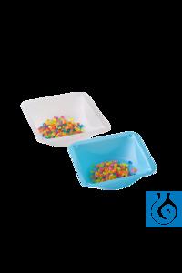 Einmal-Wägeschalen blau, 89 x 89 x 25 mm, 100 St./Pack Flexible Plastik-Wägeschalen aus blauem...