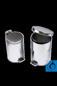 neoLab® Treteimer 12 l, verchromt, Kunststoffeinsatz Abfallsammler verchromt Robuste Ausführung,...