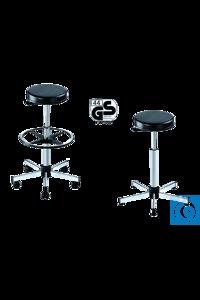 neoLab® Laborhocker, Kunstledersitz, mit Gleitern, höhenverstellbar 55-79 cm Fünffuß-Untergestell...