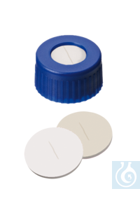 neochrom® UltraBond Verschlüsse ND9, blau, Silikon weiß/PTFE beige, geschlitzt, Kappe und Septum...