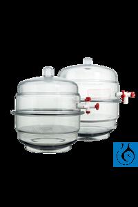neoLab® Exsikkator Kunststoff 225 mm, mit Hahn, für Platte 19 cm Exsikkator aus Polycarbonat,...