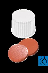neochrom® Schraubkappe ND20 weiß geschl., Kautschuk rot-or./TEF transp., 100 Stc Geschlossene...