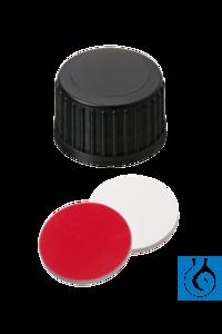 neochrom® Schraubkappen ND18 geschl., Sept. Butyl rot/PTFE grau, 100 Stck./Pack Geschlossene...