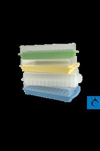 neoLab® Combi-Rack mit Schnappdeckel für 96 Reaktionsgefäße, grün Aufbewahrungsrack mit...