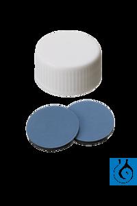 neochrom® Schraubkappen ND24 weiß, geschlossen, Septum Butyl rot/PTFE grau, 100...