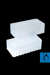 neoBox-50, f. Gefäße bis 9 mm, 35 mm hoch, transparent Stapelbare Aufbewahrungsbox aus PP mit 5 x...