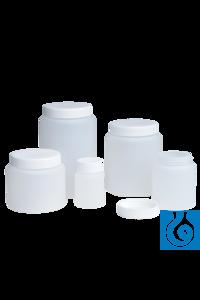 neoLab® HDPE-Dose mit Schraubverschluss, 750 ml Runddosen aus HDPE, natur , mit weißem...