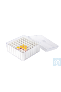 neoLab Tray 12 x 12 x 5.5 cm, 49 spaces Transparent tray made of polystyrene with white plastic...