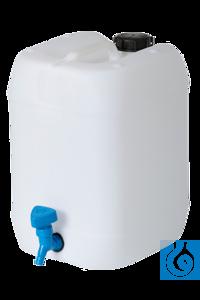 neoLab® Behälter mit eingeschweißtem Hahn, weiß, 30 l Kanister mit fest eingeschweißtem, auf...