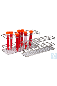 neoLab® Reagenzglasgestell aus Edelstahl für 16 mm Ø, 4 x 12 Reihen Unverwüstliche...